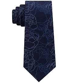 Calvin Klein Men's Abstract Linear Floral Slim Silk Tie