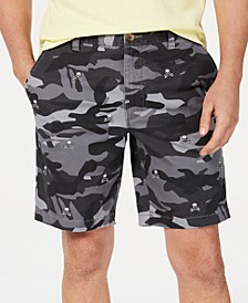 Men's Stretch Skull-Embroidered Camouflage Shorts, Created for Macy's