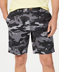 Club Room Men's Stretch Skull-Embroidered Camouflage Shorts, Created for Macy's