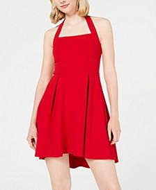 Juniors' High-Low Halter Dress