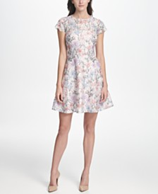 kensie Floral-Lace A-Line Dress