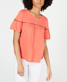 CeCe Flutter-Sleeve Circle-Trim Top