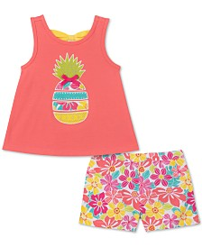 Kids Headquarters Baby Girls 2-Pc. Pineapple Tank Top & Printed Shorts Set