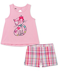Baby Girls 2-Pc. Cat Tank Top & Plaid Shorts Set