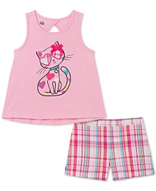 Kids Headquarters Baby Girls 2-Pc. Cat Tank Top & Plaid Shorts Set