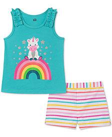 Kids Headquarters Baby Girls 2-Pc. Graphic-Print Tank Top & Striped Shorts Set