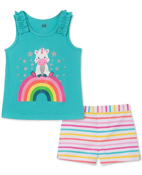 Kids Headquarters Baby Girls 2-Pc. Graphic-Print Tank Top & Striped Shorts Set