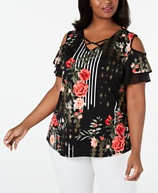 JM Collection Plus Size Floral-Print Ruffle-Sleeve Top, Created For Macy's