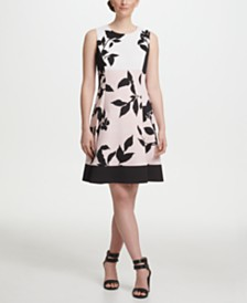 DKNY Colorblock Floral Print Fit & Flare Dress