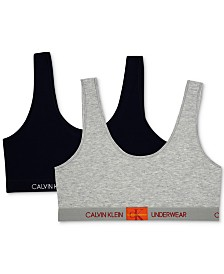 Calvin Klein Big Girls 2-Pack Monogrammed Bralette