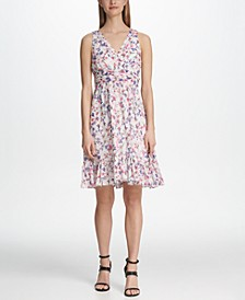 Ruched Waist Floral Chiffon Dress
