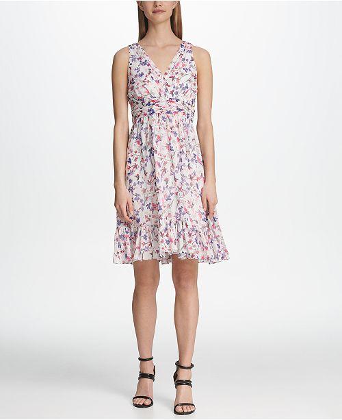 DKNY Ruched Waist Floral Chiffon Dress
