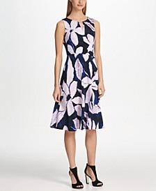 Logo Cutout Neck Floral Jersey Dress