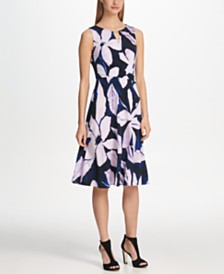 DKNY Logo Cutout Neck Floral Jersey Dress