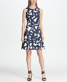 DKNY Graphic Print Fit & Flare Dress