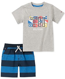 Tommy Hilfiger Baby Boys 2-Pc. Logo T-Shirt & Striped Shorts Set