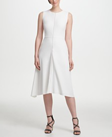 DKNY Zipper Detail Fit-and-Flare Midi Dress