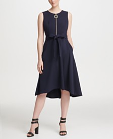 DKNY Logo Zipper Belted Fit-and-Flare Midi Dress