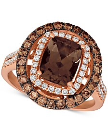 Le Vian® Chocolate Quartz® (1-9/10 ct. t.w.), Nude Diamonds (1/3 ct. t.w.) and Chocolate Diamonds® (5/8 ct. t.w.) Statement Ring set in 14k Rose Gold