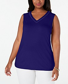 Plus Size Embellished Tank Top, Created for Macy's