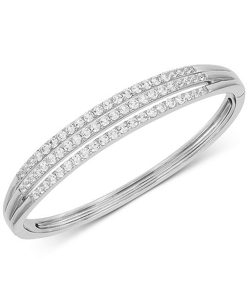 Arabella Swarovski Zirconia Three Row Bangle Bracelet in Sterling Silver