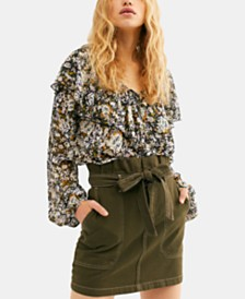Free People Splendor In The Grass Tie-Waist Denim Skirt