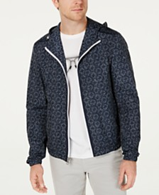 Michael Kors Men's Tile-Print Hooded Windbreaker