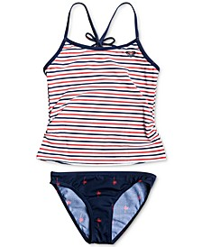 Little Girls 2-Pc. Striped Tankini Swimsuit