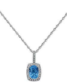 "Peridot (3/4 ct. t.w.) & Diamond (1/10 ct. t.w.) 18"" Pendant Necklace in 14k White Gold (Also Available in Garnet, Blue Topaz and Amethyst)"