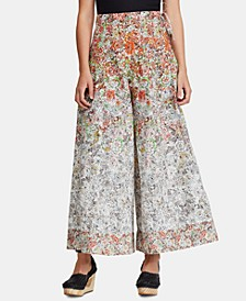 Sugar Magnolia Cotton Floral-Print Wide-Leg Pants