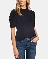 e110959524007a CeCe Pleated Elbow-Sleeve Top