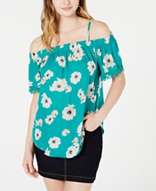 BCX Juniors' Printed Crochet-Trimmed Off-The-Shoulder Blouse