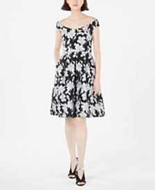 Calvin Klein Off-The-Shoulder Brocade Floral Fit & Flare Dress