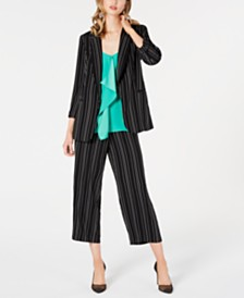 Bar III Striped Open-Notch Collar Jacket, Sleeveless Crepe Ruffle Top & Cropped Striped Pants, Created for Macy's