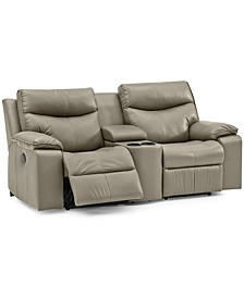 "Ronse 77"" Leather Power Recliner Loveseat with Console"