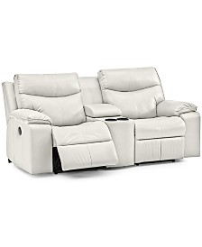 """Ronse 77"""" Leather Power Recliner Loveseat with Console"""
