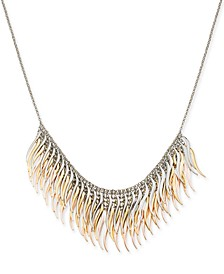 """Tri-Tone Metallic Feather Layered Statement Necklace, 18"""" + 3"""" extender, Created for Macy's"""