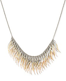 "Thalia Sodi Tri-Tone Metallic Feather Layered Statement Necklace, 18"" + 3"" extender, Created for Macy's"