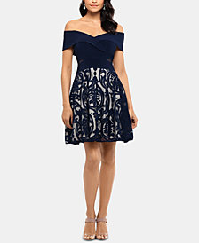 X by Xscape Off-The-Shoulder Fit & Flare Dress
