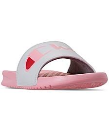 Women's Super Slide Split Script Slide Sandals from Finish Line