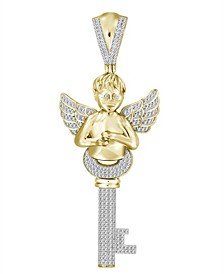 Men's Diamond (3/4 ct.t.w.) Key and Angel Pendant in 10k Yellow Gold