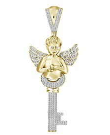 Diamond (3/4 ct.t.w.) Key and Angel Pendant in 10k Yellow Gold