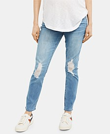 Maternity Distressed Light Wash Straight-Leg Jeans