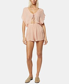 Juniors' Salt Water Solids Lace-Up Cover-Up Romper