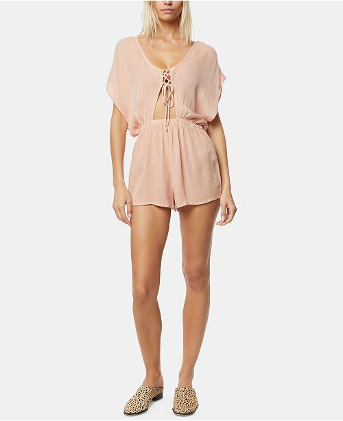 O'Neill Juniors' Salt Water Solids Lace-Up Cover-Up Romper
