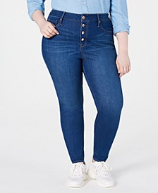Trendy Plus Size Button-Fly High-Rise Jeans