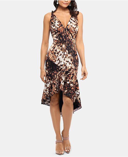 XSCAPE Asymmetrical Ruffle Midi Dress