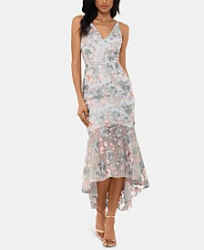 XSCAPE Embroidered Floral High-Low Gown
