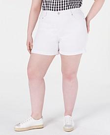 Trendy Plus Size High-Rise Denim Shorts