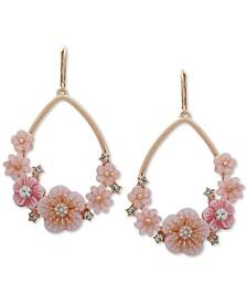 Gold-Tone Crystal Flower Open Drop Earrings